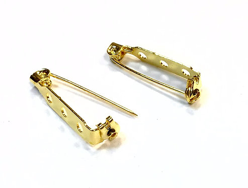 27mm Brooch Back/Bar - Gold Plated