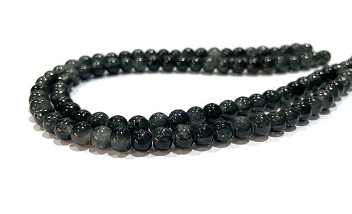 6mm crackle glass beads black