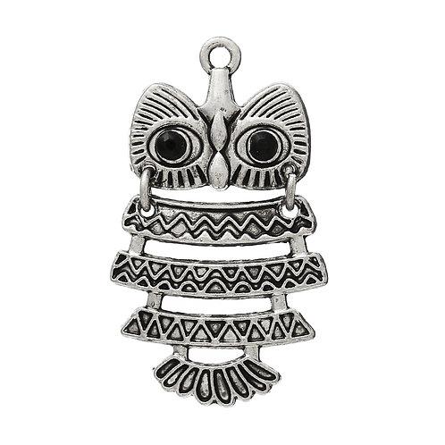 Owl with Rhinestones - Silver