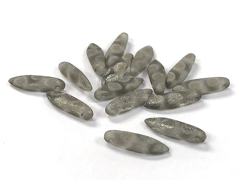 Czech Dagger Beads 5 x 16mm - Silver Dot