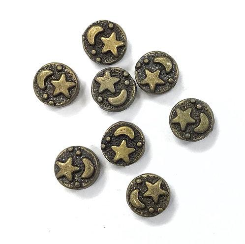 Moon & Star Beads, Bronze Tone - Pack of 10