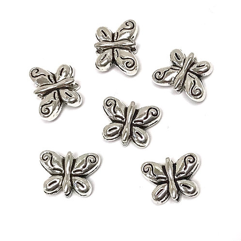 Butterfly Beads, Silver Tone - Pack of 10