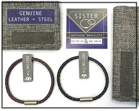 SISTER -  Gift for sister - Matching Leather Bracelets