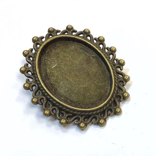 Brooch Cabachon Setting, Bronze - Fit 24.5 x 18mm