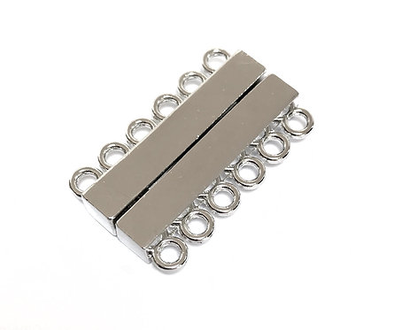 Silver Tone Magnetic Clasp - 6 Strand