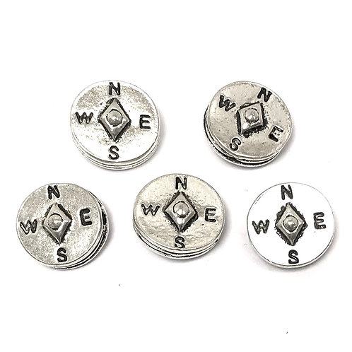 Compass Beads, Silver Tone - Pack of 5