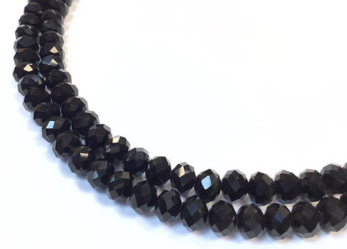 8mm black crystal glass rondelle beads