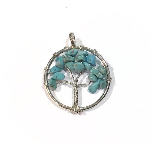 howlite wire tree pendant