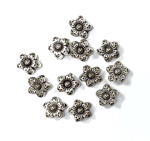 Flower Beads, Silver Tone - Pack of 15