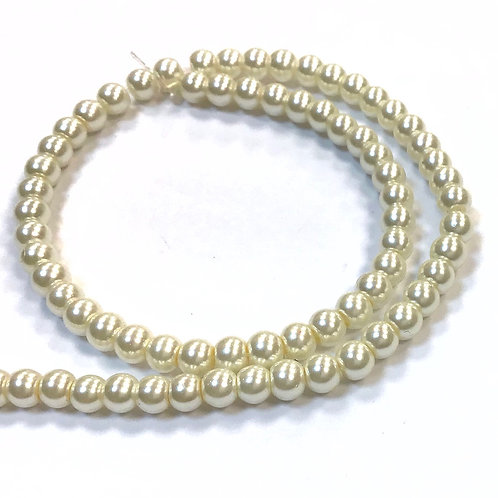 Glass Pearl Beads, Ivory - 4mm
