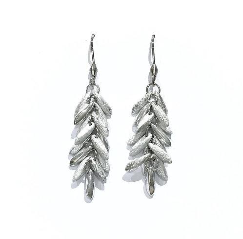 handmade silver beaded earrings