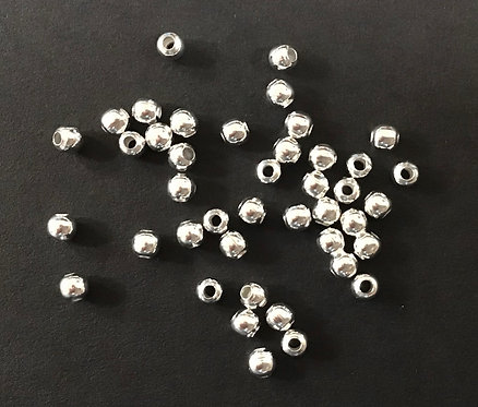 4mm Ball Beads, Silver Plated - Pack of 125
