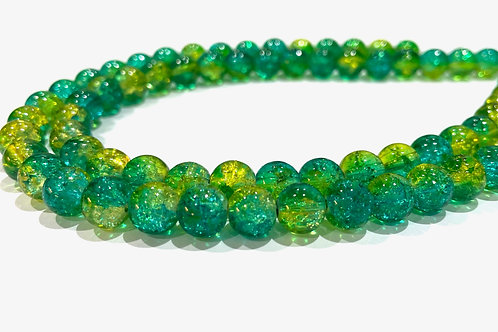 green/yellow crackle glass beads 8mm
