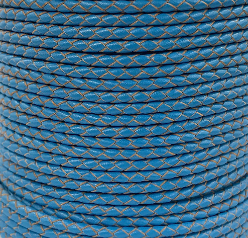 Braided Leather Cord 3mm - Blue
