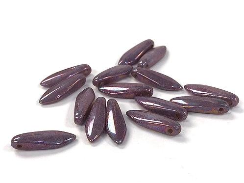 Czech Dagger Beads 5 x 16mm - Purple Lustre