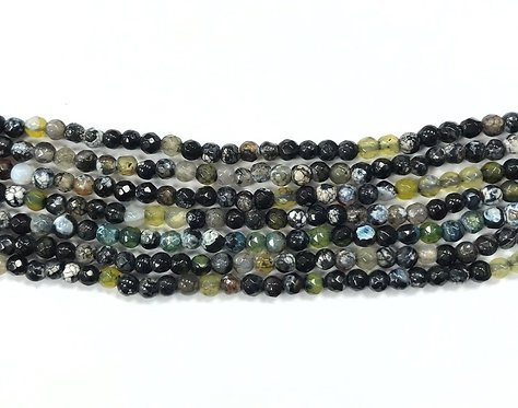 4mm Agate Beads - Green/Black