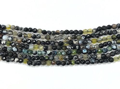 4mm Agate Beads - Green/Black