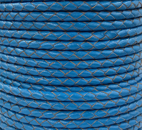 Braided Leather Cord 4mm - Blue