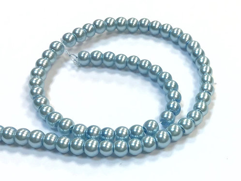 Glass Pearl Beads, Sky Blue - 4mm