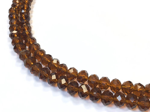 8mm amber crystal glass rondelle beads