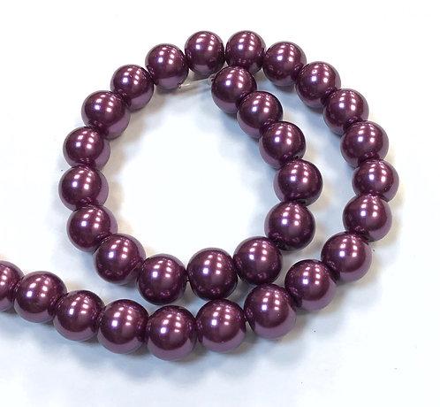 Glass Pearl Beads, Purple - 8mm