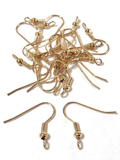 Earring Wire Hooks, Light Gold - Pack of 20