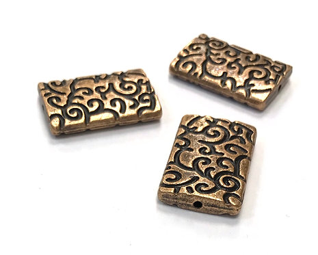 Rectangle Beads, Copper Tone - Pack of 5