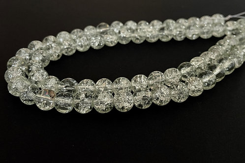 clear crackle glass beads 8mm