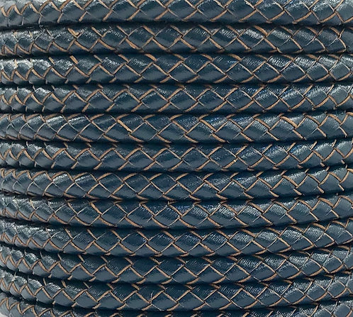 Braided Leather Cord 5mm - Navy Blue