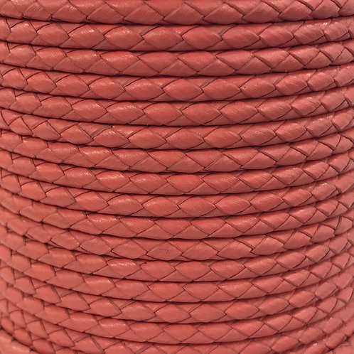 Braided Leather Cord 4mm - Coral Pink