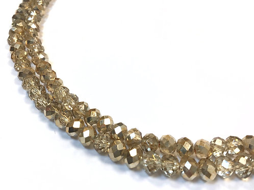 crystal glass gold beads 6mm