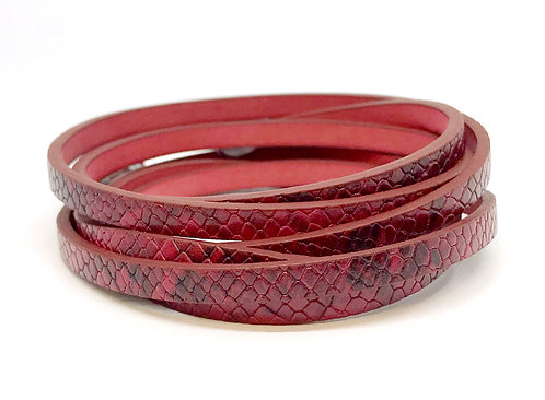 Flat Cord 5 x 2mm - Red Snakeskin