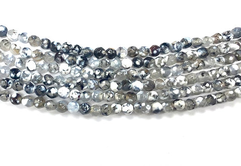 4mm Agate Beads - Grey/White