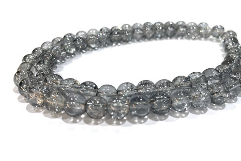 grey crackle glass beads 8mm