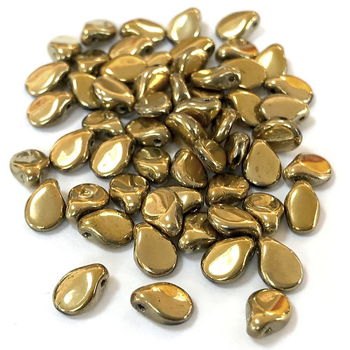 Pip Beads - Amber Gold Metallic