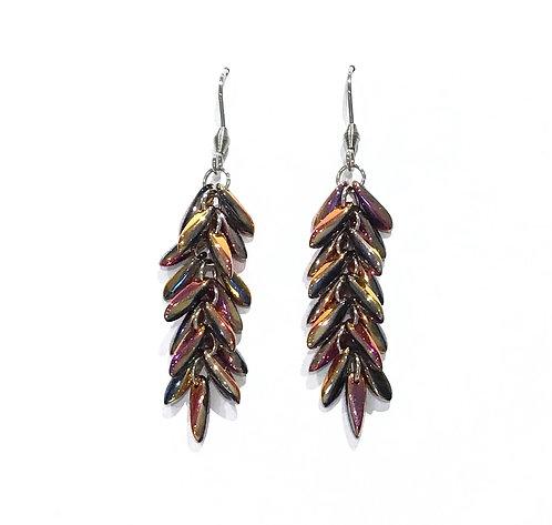 handmade pink feather beaded earrings