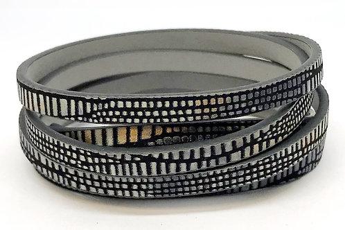 Flat Cord 5 x 2mm - Black Pattern