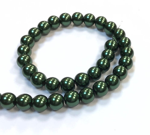 Glass Pearl Beads, Forest Green - 8mm