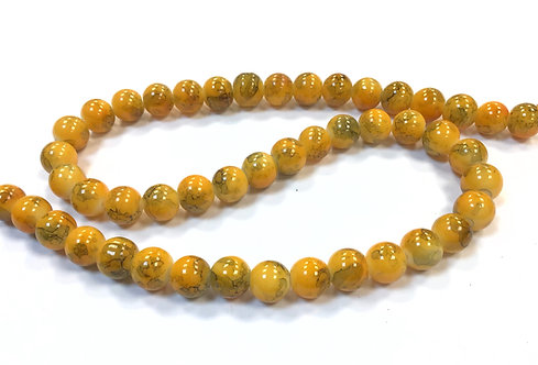 Glass Beads, Yellow - 8mm