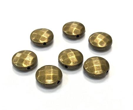 Flat Round Beads, Bronze Tone - Pack of 10