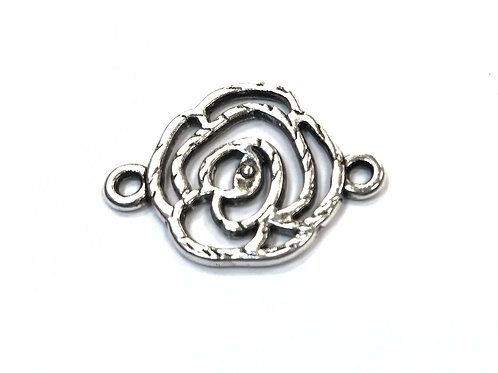 Rose Connector, Silver Tone