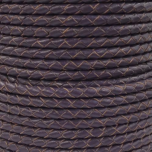 Braided Leather Cord 4mm - Purple