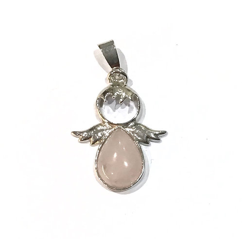 rose quartz angel pendant