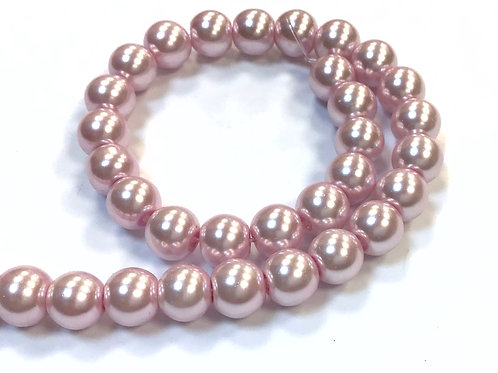 Glass Pearl Beads, Pink - 8mm
