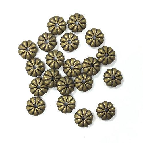 Daisy Beads, Bronze Tone - Pack of 20