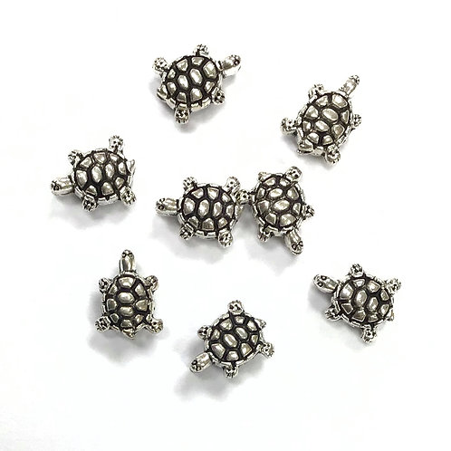 Turtle Beads, Silver Tone - Pack of 15