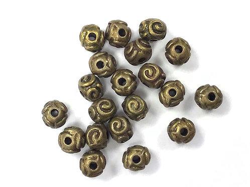 Swirl Beads, Bronze Tone - Pack of 20