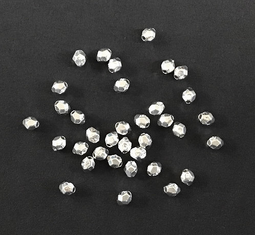 Tiny Faceted Beads, Silver Plated - Pack of 110
