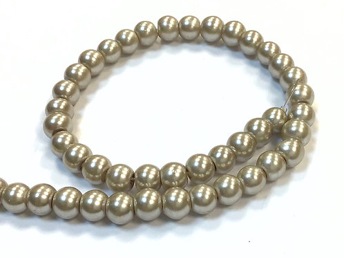 Glass Pearl Beads, Latte - 6mm