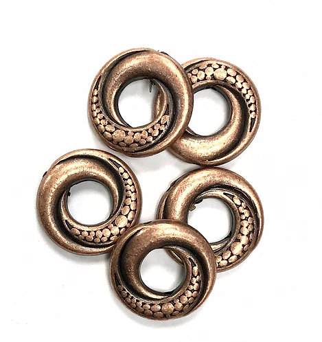 Swirl Ring Beads, Copper Tone Pack of 12